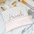 Lisa Angel Ladies' Personalised Name Pink and Polka Dot Wash Bag