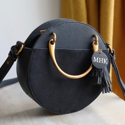 Personalised Initials Round Handle Shoulder Bag in Black 67cbdce8330bf