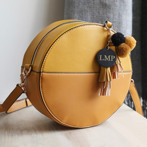 Personalised Round Mustard Shoulder Bag With Pompoms