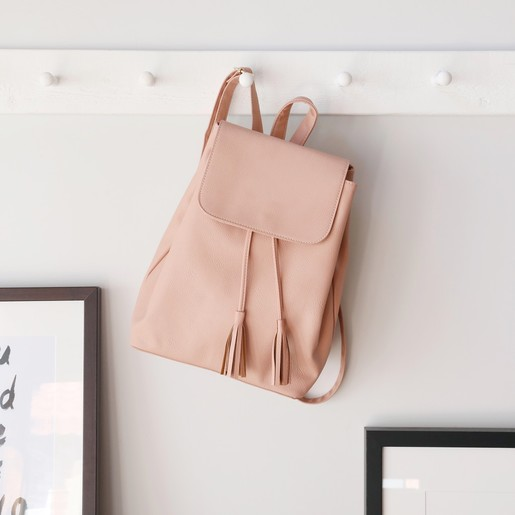 9040435d436 Blush Pink Fold Top Vegan Leather Backpack