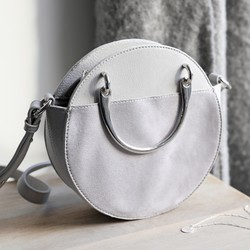 7cd67b944efe Round Silver Handle Shoulder Bag in Grey