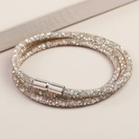 Crystal Mesh Wrap Bracelet in Rose Gold