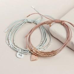 59d6b5151 Personalised Layered Multi Strand Leather Beaded Bracelet
