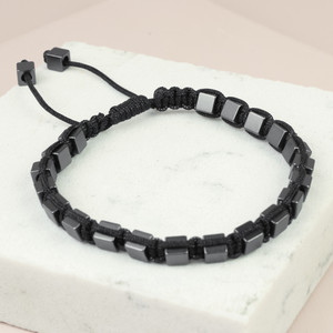 Men's Gun Metal Beaded Bracelet