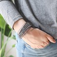 Iridescent Beaded Wrap Bracelet in Grey on Model