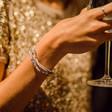 Lisa Angel Ladies' Engraved Personalised Multi-Strand Oval Beads Bracelet in Grey on Model