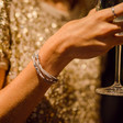 Multi-Strand Oval Beads Bracelet in Grey on Model