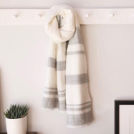 Lisa Angel Cream   Grey Striped Blanket Scarf - Lisa Angel f87d700e1