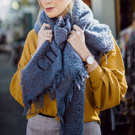 e979cb69c16ae Lisa Angel Ladies' PersonalisedEmbroidered Initials Sparkle Blanket Scarf in  Blue. Personalised Embroidered ...