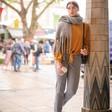 Lisa Angel Ladies' Personalised Initials Winter Tassel Scarf on Model