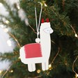 Lisa Angel Red and White Festive Wooden Llama Hanging Decoration
