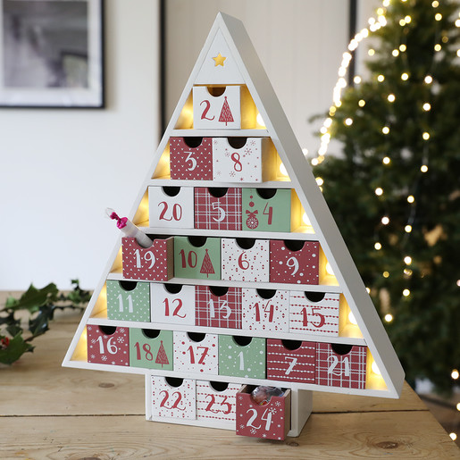 Angel Shaped Christmas Tree.Festive Wooden Fill Your Own Advent Calendar Tree