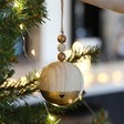 Lisa Angel Metallic Dipped Wooden Bauble in Gold