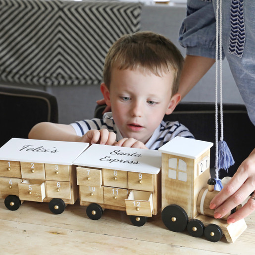 Personalised Wooden Train Fill Your Own Advent Calendar In White