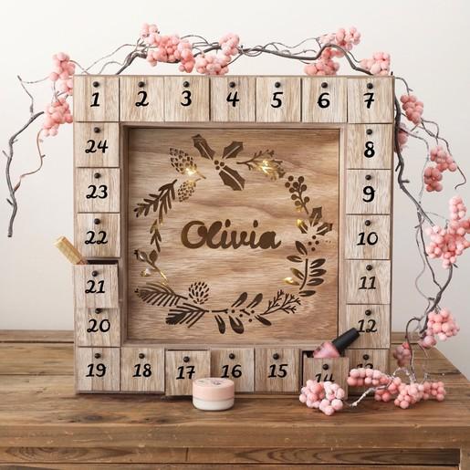 Personalised Wooden Advent Calendar Light Box Lisa Angel