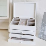 Triple Drawer Jewellery Box with Lid in White