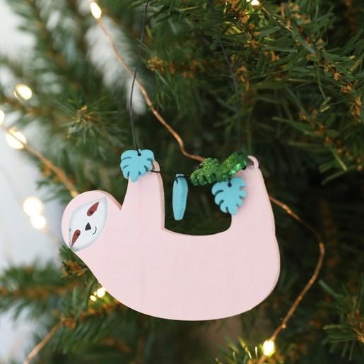 Christmas Sloth.Wooden Sloth Hanging Decoration