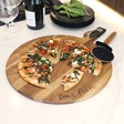 Lisa Angel Engraved Pizza Cutter & Serving Board Set
