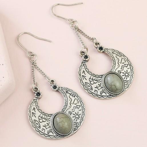 fd27ec29f Lisa Angel Ladies' Aztec Style Horn and Stone Drop Earrings in Silver