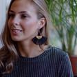 Women's Black Tassel Fan Drop Earrings