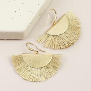 Gold Half Circle Tassel Drop Earrings in Beige