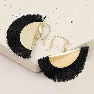 Gold Half Circle Tassel Drop Earrings in Black