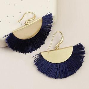 Gold Half Circle Tassel Drop Earrings in Navy