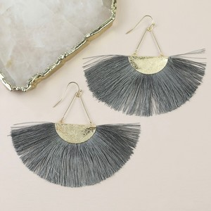 Grey Tassel Fan Drop Earrings