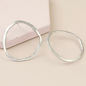 Irregular Hoop Statement Stud Earrings in Silver