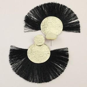 Large Gold Double Disc Tassel Earrings in Black