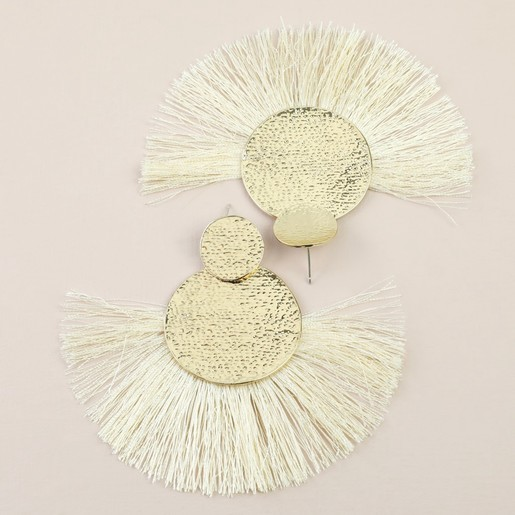 6ea105dfb556f Large Gold Double Disc Tassel Earrings in Champagne Gold