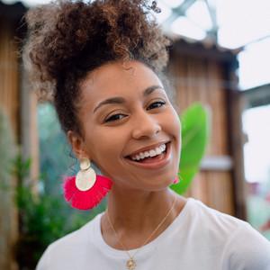Large Gold Double Disc Tassel Earrings in Pink