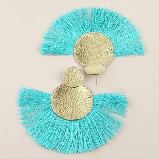 249ff1969b481 Large Gold Double Disc Tassel Earrings in Teal