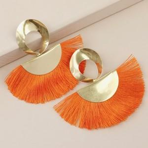 Large Gold Twisted Drop Tassel Earrings in Orange