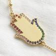 Gold Rainbow Crystal Hamsa Hand Bracelet