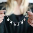 Model Wears Lisa Angel Ladies' Luxury Personalised Sterling Silver Travel Charm Bracelet