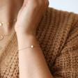 Lisa Angel Delicate Carly Rowena Gold Sterling Silver Opalite Bead Chain Bracelet