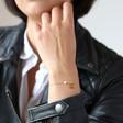 Lisa Angel Ladies' Carly Rowena Personalised Gold Sterling Silver Opalite Bead Chain Bracelet