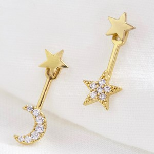 Stud and Underlobe Mismatch moon and star earrings (2 part earrings)