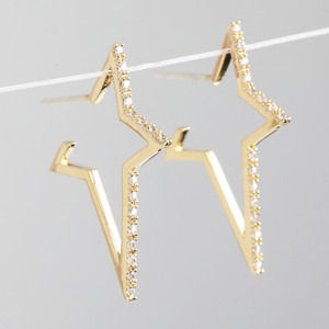 Crystal Star Hoop Earrings in Gold