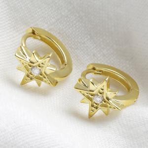Gold Sterling Silver North Star Huggie Hoop Earrings