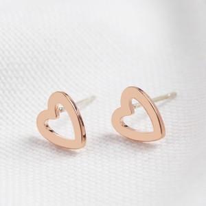 Heart Outline Stud Earrings in Rose Gold