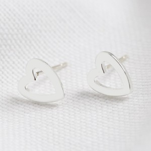 Heart Outline Stud Earrings in Silver