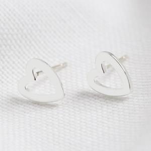 Heart Outline Stud Earrings in Silver