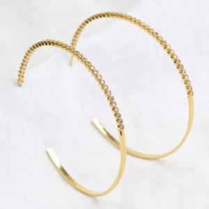 Large Crystal Hoop Earrings in Gold