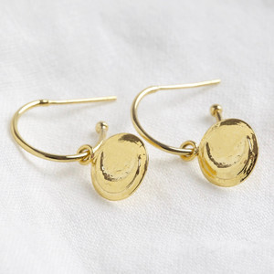 Moon Disc Charm Hoop Earrings