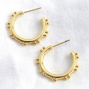 Small Double Orb Hoop Earrings in Gold