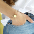 Ladies' Personalised Gold Sunbeam Bracelet  on Model