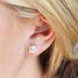Mismatched Stem Rose Hoop and Stud Earrings in Silver on Model