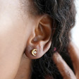 Moon and Crystal Stud Earrings in Gold on Model